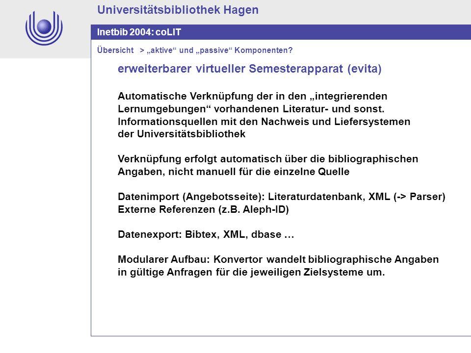Universitätsbibliothek Hagen Inetbib 2004: coLIT erweiterbarer virtueller Semesterapparat (evita) Automatische Verknüpfung der in den integrierenden L