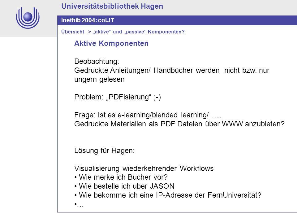 Universitätsbibliothek Hagen Inetbib 2004: coLIT Aktive Komponenten Beobachtung: Gedruckte Anleitungen/ Handbücher werden nicht bzw. nur ungern gelese