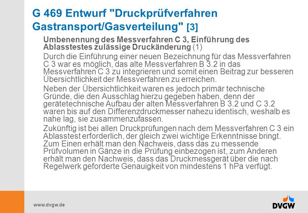 www.dvgw.de G 469 Entwurf Druckprüfverfahren Gastransport/Gasverteilung [3] Umbenennung des Messverfahren C 3, Einführung des Ablasstestes zulässige Druckänderung (1) Durch die Einführung einer neuen Bezeichnung für das Messverfahren C 3 war es möglich, das alte Messverfahren B 3.2 in das Messverfahren C 3 zu integrieren und somit einen Beitrag zur besseren Übersichtlichkeit der Messverfahren zu erreichen.