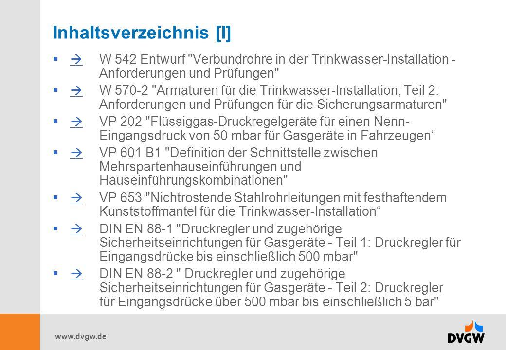 www.dvgw.de Inhaltsverzeichnis [I] W 542 Entwurf