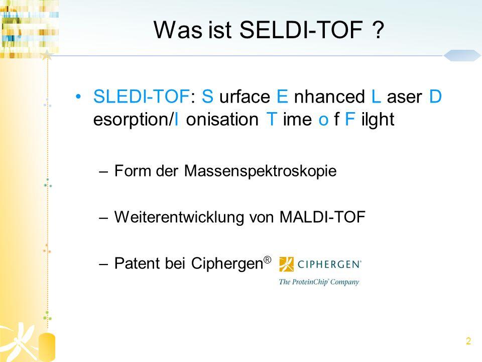 2 Was ist SELDI-TOF ? SLEDI-TOF: S urface E nhanced L aser D esorption/I onisation T ime o f F ilght –Form der Massenspektroskopie –Weiterentwicklung