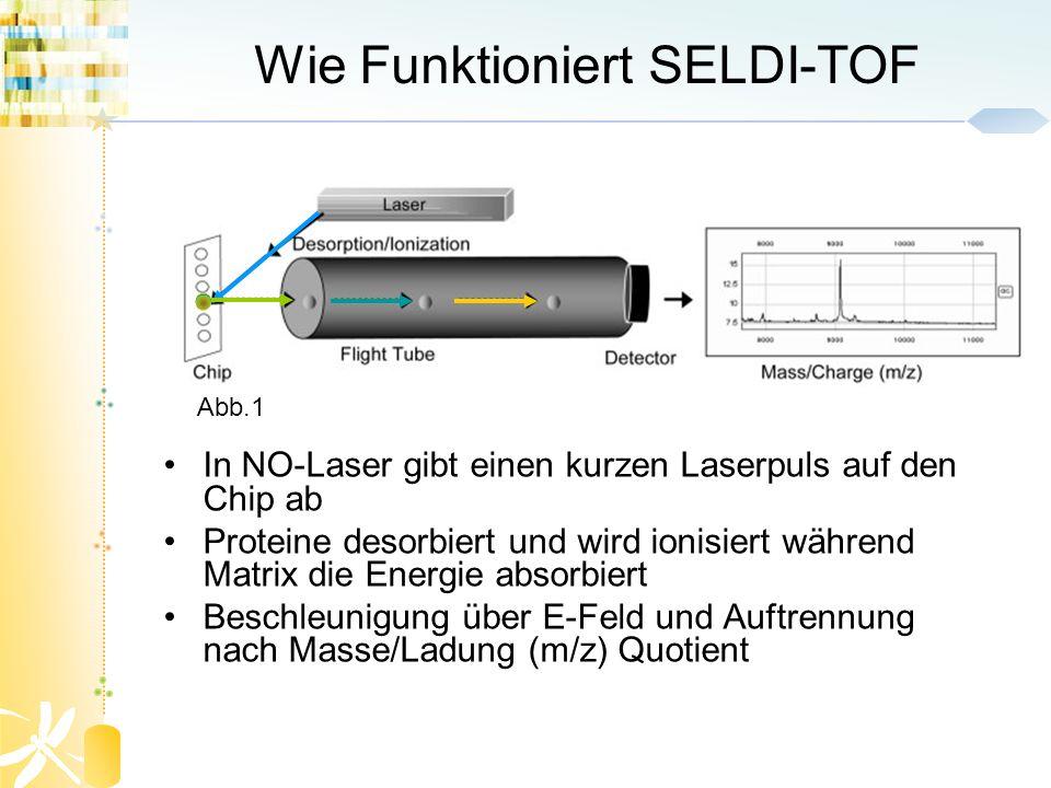Wie Funktioniert SELDI-TOF In NO-Laser gibt einen kurzen Laserpuls auf den Chip ab Proteine desorbiert und wird ionisiert während Matrix die Energie a
