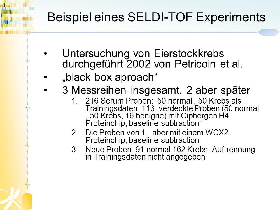 Beispiel eines SELDI-TOF Experiments Untersuchung von Eierstockkrebs durchgeführt 2002 von Petricoin et al. black box aproach 3 Messreihen insgesamt,