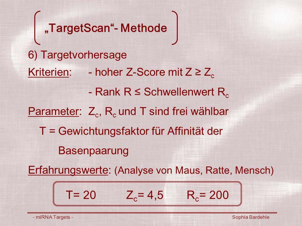 TargetScan- Methode - miRNA Targets - Sophia Bardehle 6) Targetvorhersage Kriterien:- hoher Z-Score mit Z Z c - Rank R Schwellenwert R c Parameter:Z c