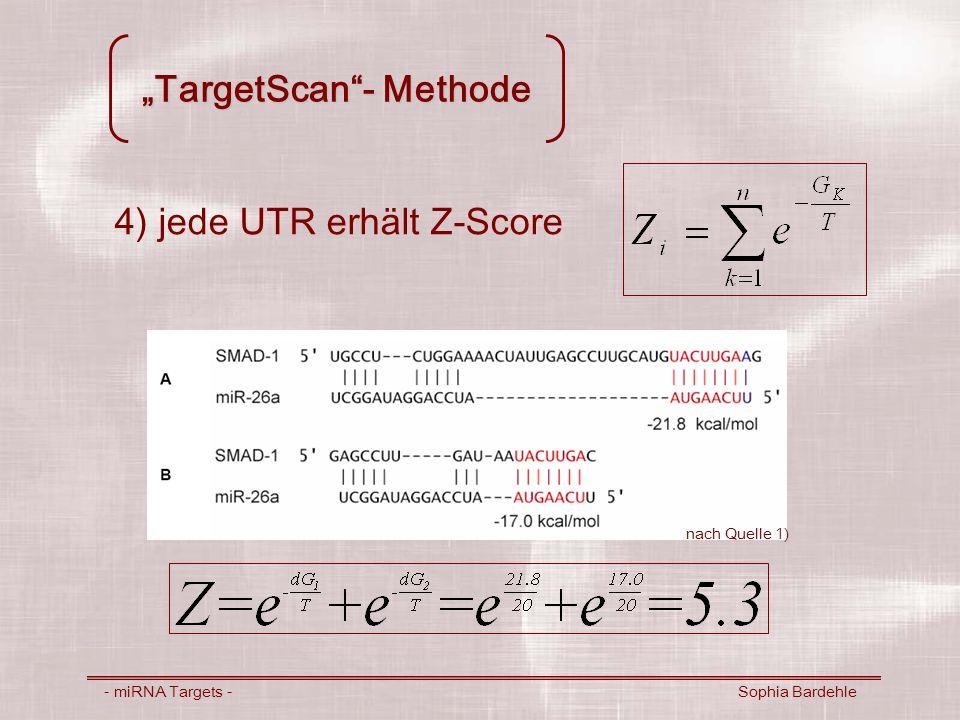 TargetScan- Methode - miRNA Targets - Sophia Bardehle 4) jede UTR erhält Z-Score nach Quelle 1)