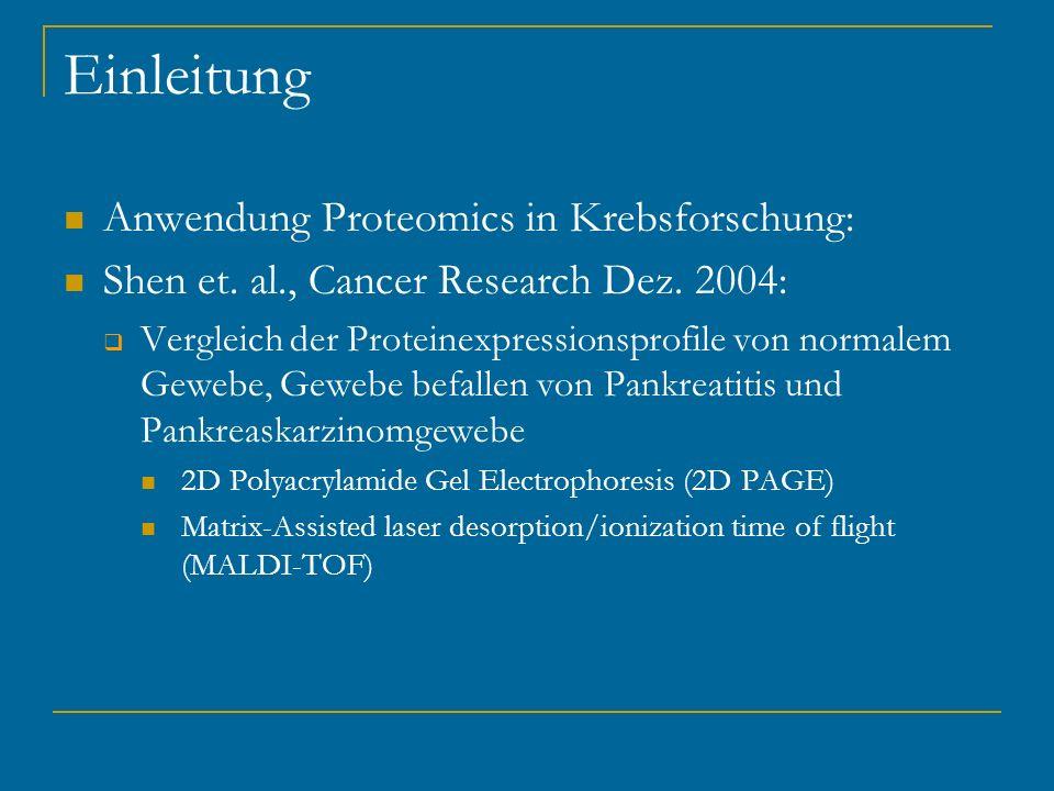 Einleitung Anwendung Proteomics in Krebsforschung: Shen et. al., Cancer Research Dez. 2004: Vergleich der Proteinexpressionsprofile von normalem Geweb