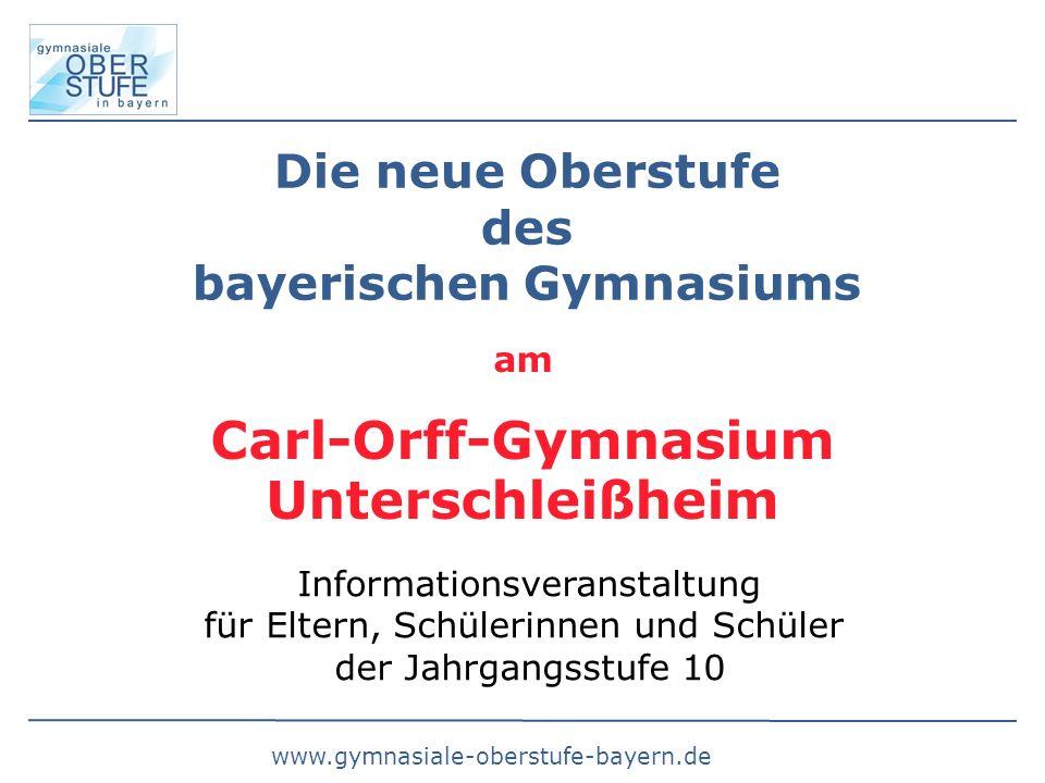 Die neue Oberstufe des bayerischen Gymnasiums Informationsveranstaltung für Eltern, Schülerinnen und Schüler der Jahrgangsstufe 10 am Carl-Orff-Gymnasium Unterschleißheim