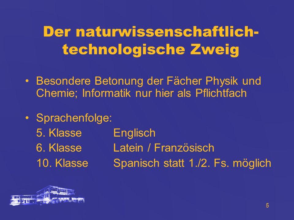 5 Der naturwissenschaftlich- technologische Zweig Besondere Betonung der Fächer Physik und Chemie; Informatik nur hier als Pflichtfach Sprachenfolge: