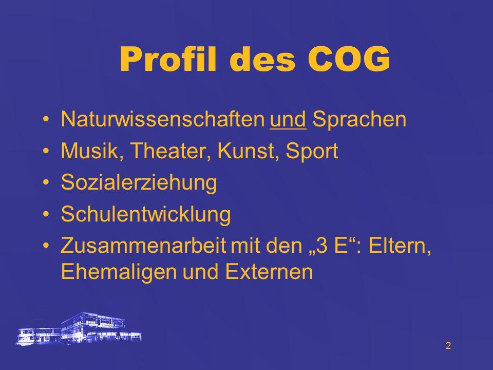2 Profil des COG Naturwissenschaften und Sprachen Musik, Theater, Kunst, Sport Sozialerziehung Schulentwicklung Zusammenarbeit mit den 3 E: Eltern, Eh