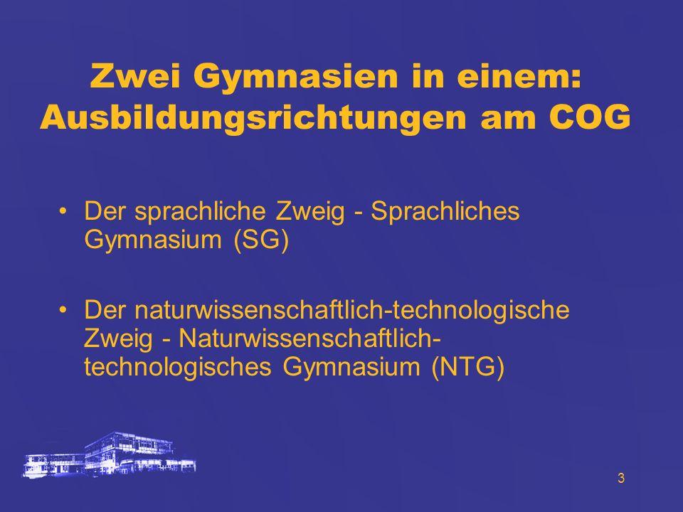 3 Zwei Gymnasien in einem: Ausbildungsrichtungen am COG Der sprachliche Zweig - Sprachliches Gymnasium (SG) Der naturwissenschaftlich-technologische Z
