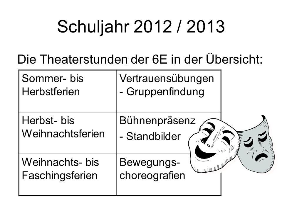 Schuljahr 2012 / 2013 Die Theaterstunden der 6E in der Übersicht: Sommer- bis Herbstferien Vertrauensübungen - Gruppenfindung Herbst- bis Weihnachtsfe