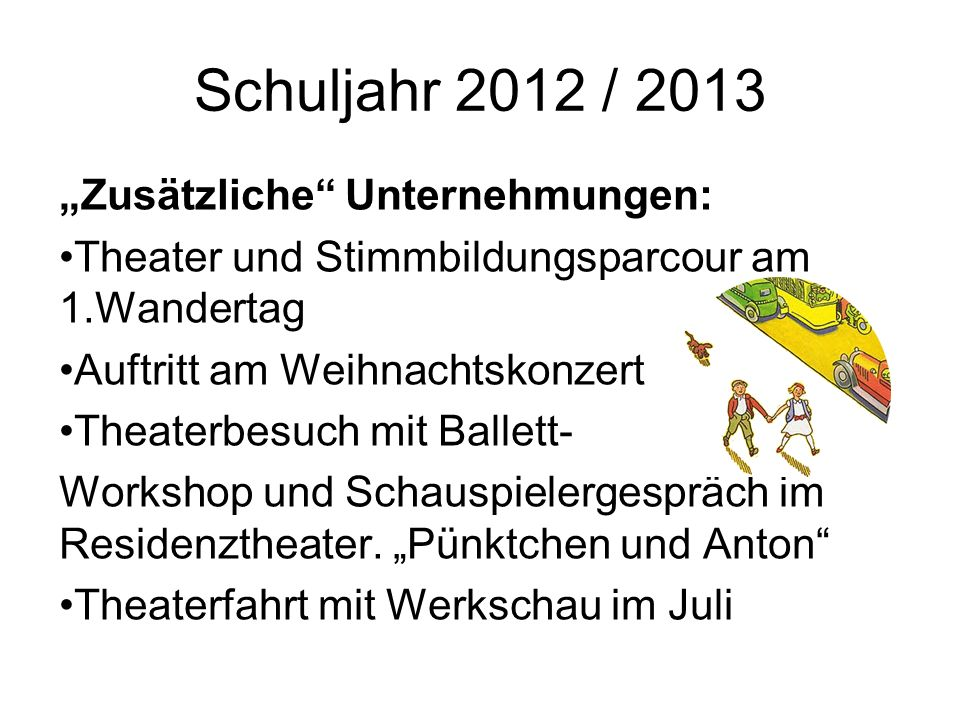 Schuljahr 2012 / 2013 Zusätzliche Unternehmungen: Theater und Stimmbildungsparcour am 1.Wandertag Auftritt am Weihnachtskonzert Theaterbesuch mit Ball