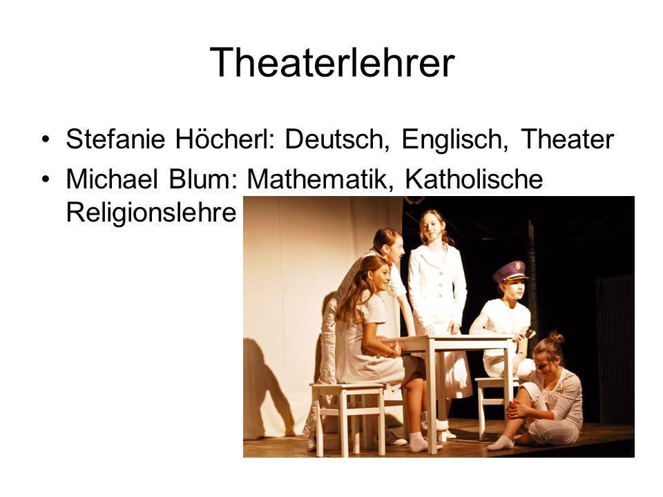 Theaterlehrer Stefanie Höcherl: Deutsch, Englisch, Theater Michael Blum: Mathematik, Katholische Religionslehre