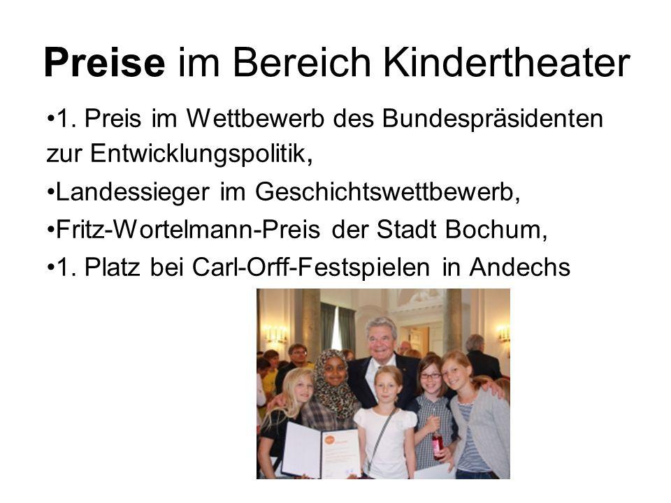 Preise im Bereich Kindertheater 1. Preis im Wettbewerb des Bundespräsidenten zur Entwicklungspolitik, Landessieger im Geschichtswettbewerb, Fritz-Wort