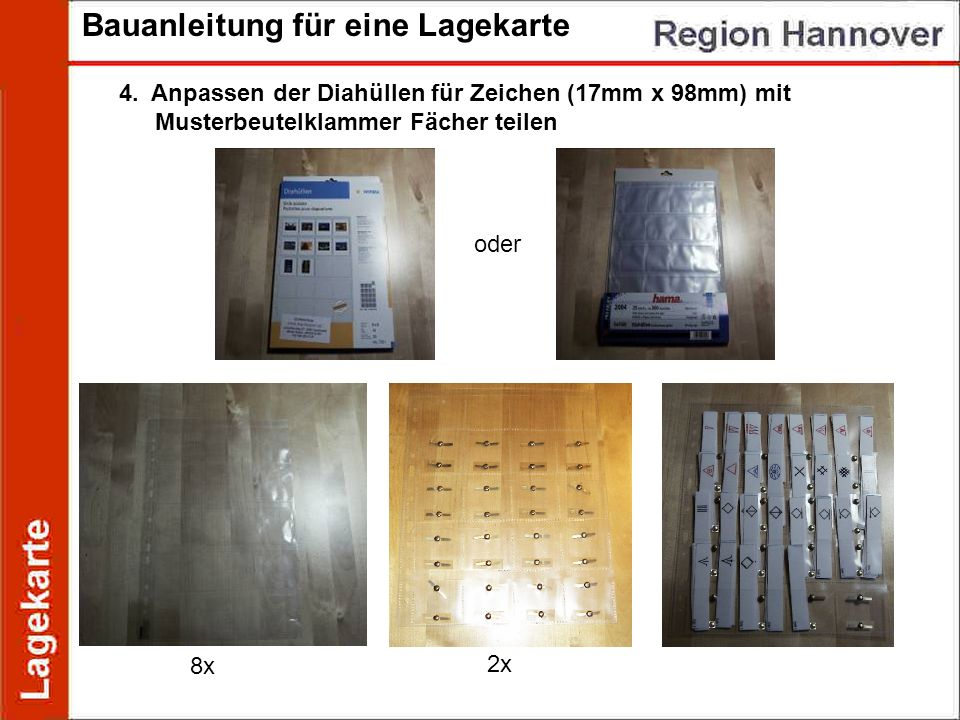 Bauanleitung für eine Lagekarte 4. Anpassen der Diahüllen für Zeichen (17mm x 98mm) mit Musterbeutelklammer Fächer teilen oder 8x 2x