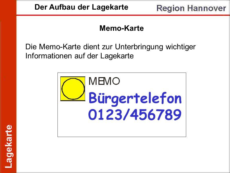 Der Aufbau der Lagekarte Memo-Karte Die Memo-Karte dient zur Unterbringung wichtiger Informationen auf der Lagekarte Bürgertelefon 0123/456789