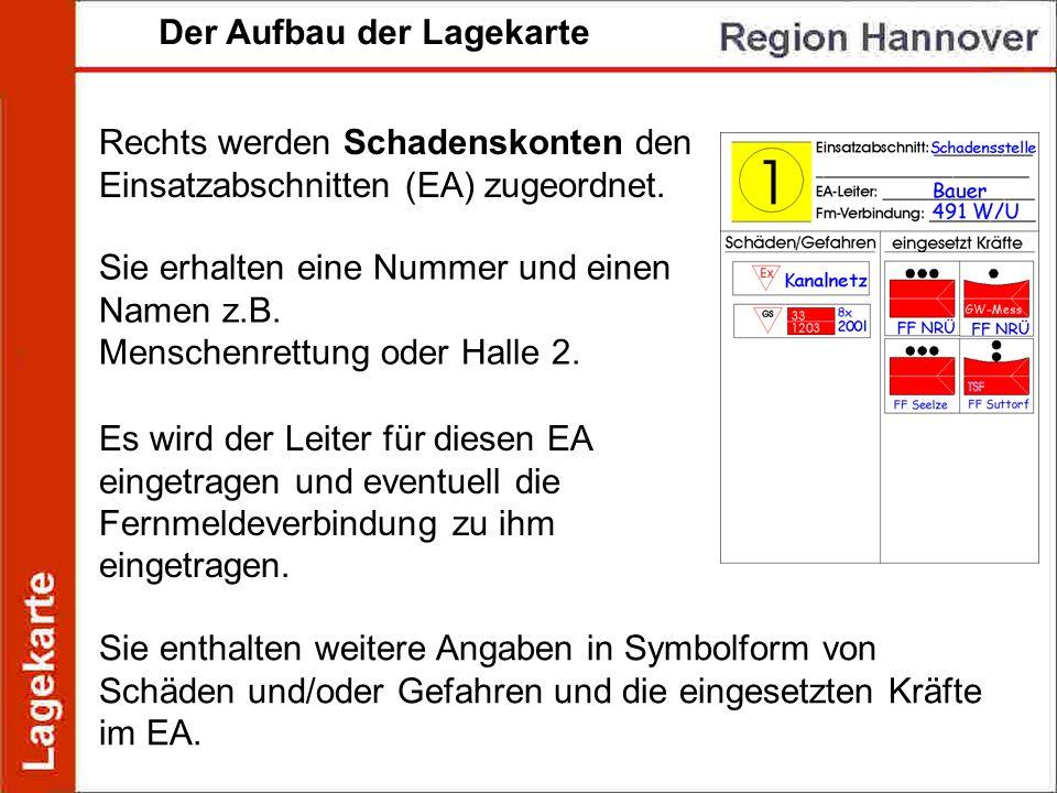 Der Aufbau der Lagekarte Rechts werden Schadenskonten den Einsatzabschnitten (EA) zugeordnet. Sie erhalten eine Nummer und einen Namen z.B. Menschenre