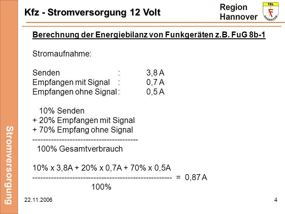 22.11.20064 Kfz - Stromversorgung 12 Volt Stromversorgung Berechnung der Energiebilanz von Funkgeräten z.B. FuG 8b-1 Stromaufnahme: Senden:3,8 A Empfa