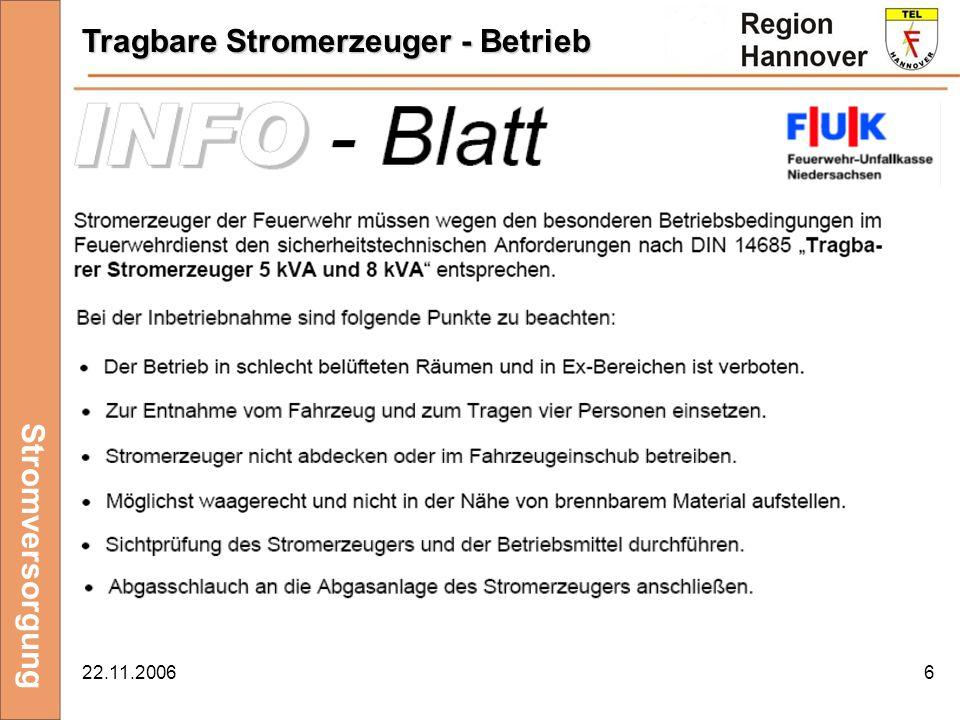 22.11.20066 Stromversorgung Tragbare Stromerzeuger - Betrieb