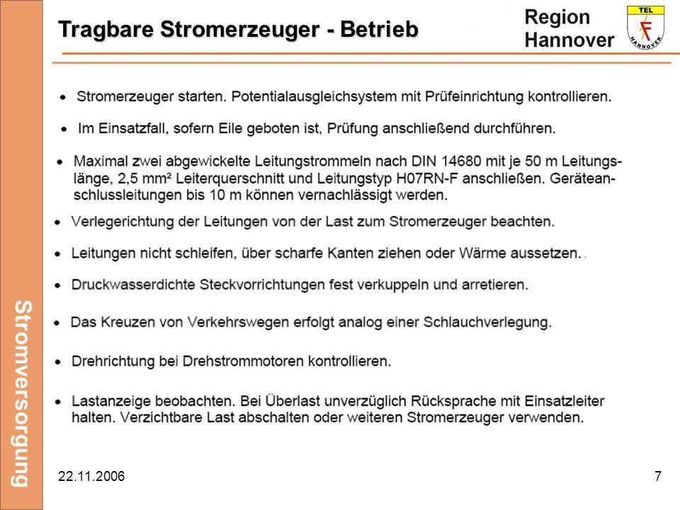 22.11.20067 Stromversorgung Tragbare Stromerzeuger - Betrieb