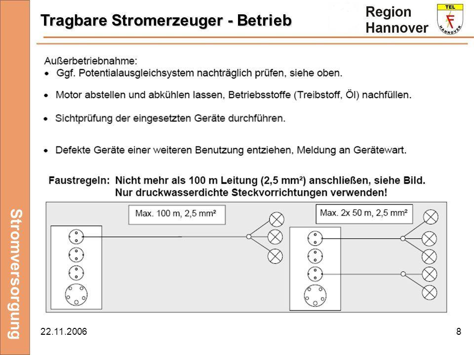 22.11.20069 Stromversorgung Ortsveränderliche elektrische Betriebsmittel - Betrieb......