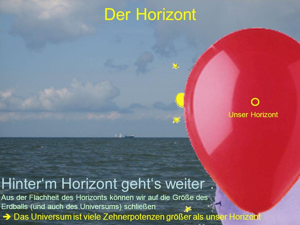 Der Horizont Hinterm Horizont gehts weiter … Unser Horizont Aus der Flachheit des Horizonts können wir auf die Größe des Erdballs (und auch des Universums) schließen Das Universum ist viele Zehnerpotenzen größer als unser Horizont
