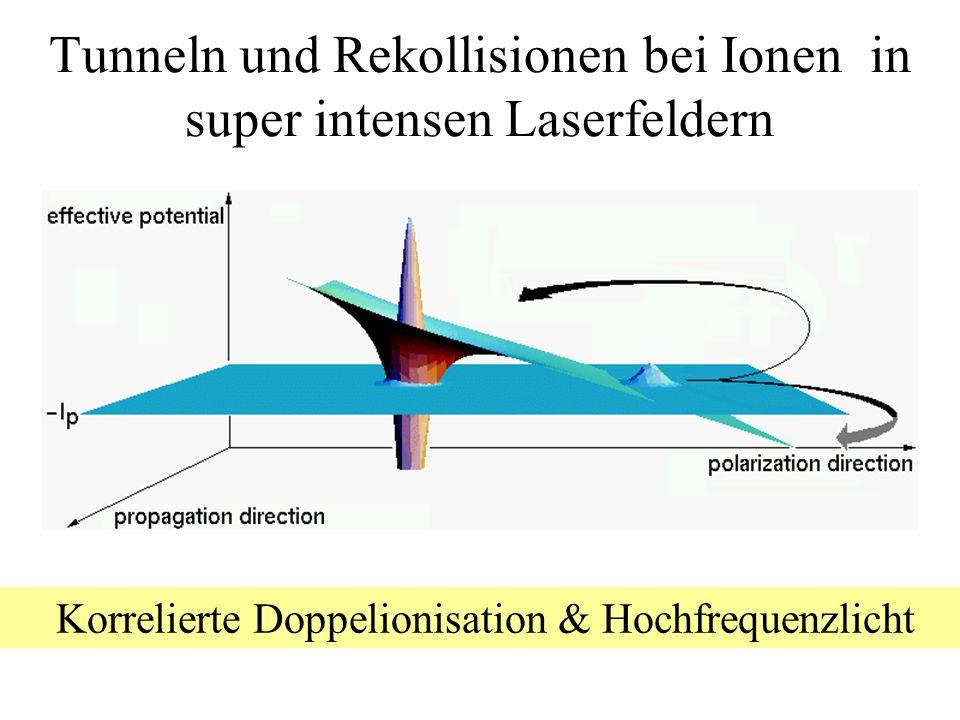 Tunneln und Rekollisionen bei Ionen in super intensen Laserfeldern Korrelierte Doppelionisation & Hochfrequenzlicht