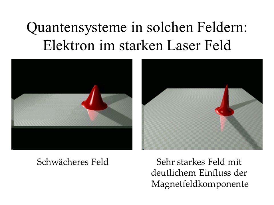 Quantensysteme in solchen Feldern: Elektron im starken Laser Feld Schwächeres FeldSehr starkes Feld mit deutlichem Einfluss der Magnetfeldkomponente