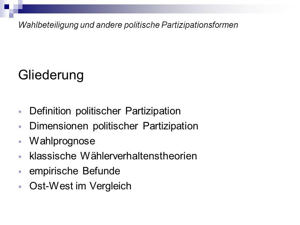 >> Bundestagswahlen 1994 bis 2002: Auswertung Wahlbeteiligung in Ost und West unterscheidet sich nicht nur im Quer-, sondern auch im Längsschnitt Wahlbeteiligung im Westen konstanter als im Osten hohe Wahlbeteiligung 1998 auf die gewünschte Abwahl Kohls zurückzuführen hohe Korrelation von Wahlbeteiligung und Arbeitsmarktsituation hohe Arbeitslosigkeit sorgt für geringes Vertrauen in Problemlösungskompetenz der politischen Führung Niedrigere Wahlbeteiligung im Osten primär auf geringe Zahl parteigebundener Bürger zurückzuführen