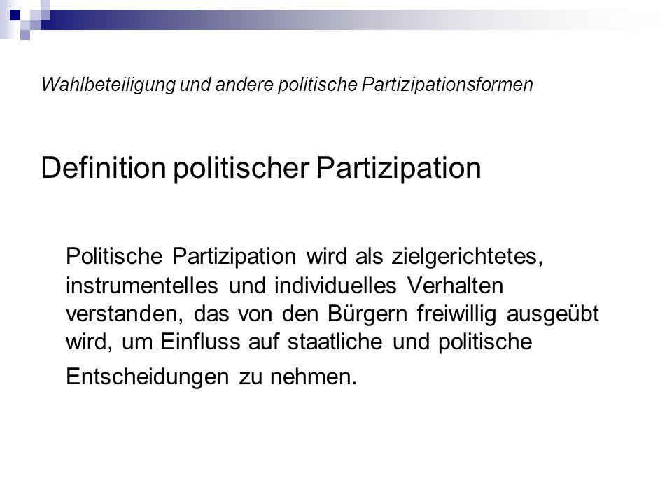 Wahlbeteiligung und andere politische Partizipationsformen Definition politischer Partizipation Politische Partizipation wird als zielgerichtetes, ins