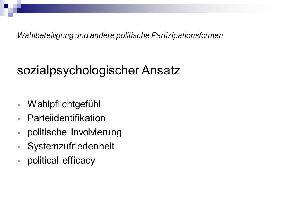 Wahlbeteiligung und andere politische Partizipationsformen soziologische Ansätze mikrosoziologischer Ansatz makrosoziologischer Ansatz