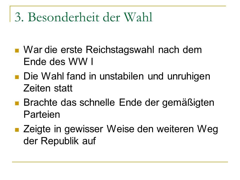 3. Besonderheit der Wahl War die erste Reichstagswahl nach dem Ende des WW I Die Wahl fand in unstabilen und unruhigen Zeiten statt Brachte das schnel
