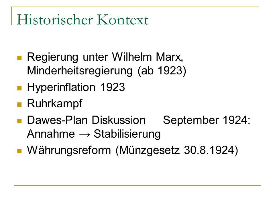 Historischer Kontext Regierung unter Wilhelm Marx, Minderheitsregierung (ab 1923) Hyperinflation 1923 Ruhrkampf Dawes-Plan Diskussion September 1924: