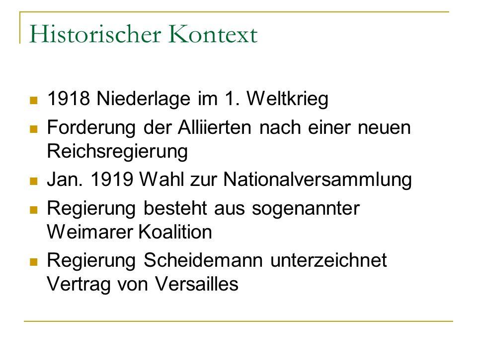 Historischer Kontext 1918 Niederlage im 1. Weltkrieg Forderung der Alliierten nach einer neuen Reichsregierung Jan. 1919 Wahl zur Nationalversammlung