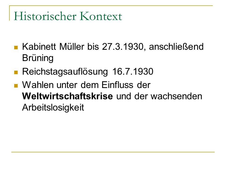 Historischer Kontext Kabinett Müller bis 27.3.1930, anschließend Brüning Reichstagsauflösung 16.7.1930 Wahlen unter dem Einfluss der Weltwirtschaftskr