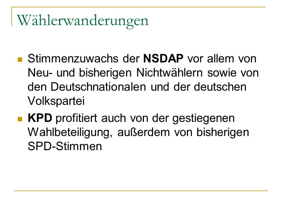 Wählerwanderungen Stimmenzuwachs der NSDAP vor allem von Neu- und bisherigen Nichtwählern sowie von den Deutschnationalen und der deutschen Volksparte