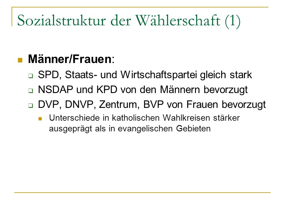 Sozialstruktur der Wählerschaft (1) Männer/Frauen: SPD, Staats- und Wirtschaftspartei gleich stark NSDAP und KPD von den Männern bevorzugt DVP, DNVP,