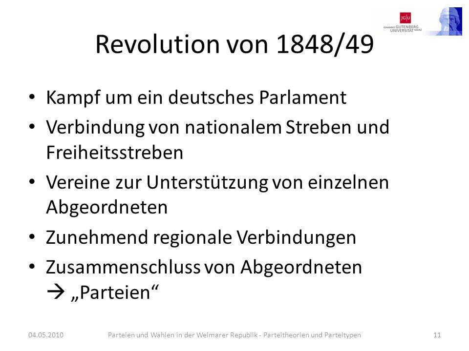 Revolution von 1848/49 Kampf um ein deutsches Parlament Verbindung von nationalem Streben und Freiheitsstreben Vereine zur Unterstützung von einzelnen