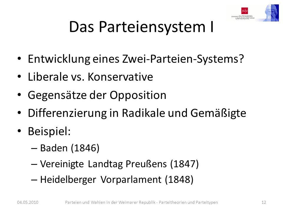 Das Parteiensystem I Entwicklung eines Zwei-Parteien-Systems? Liberale vs. Konservative Gegensätze der Opposition Differenzierung in Radikale und Gemä
