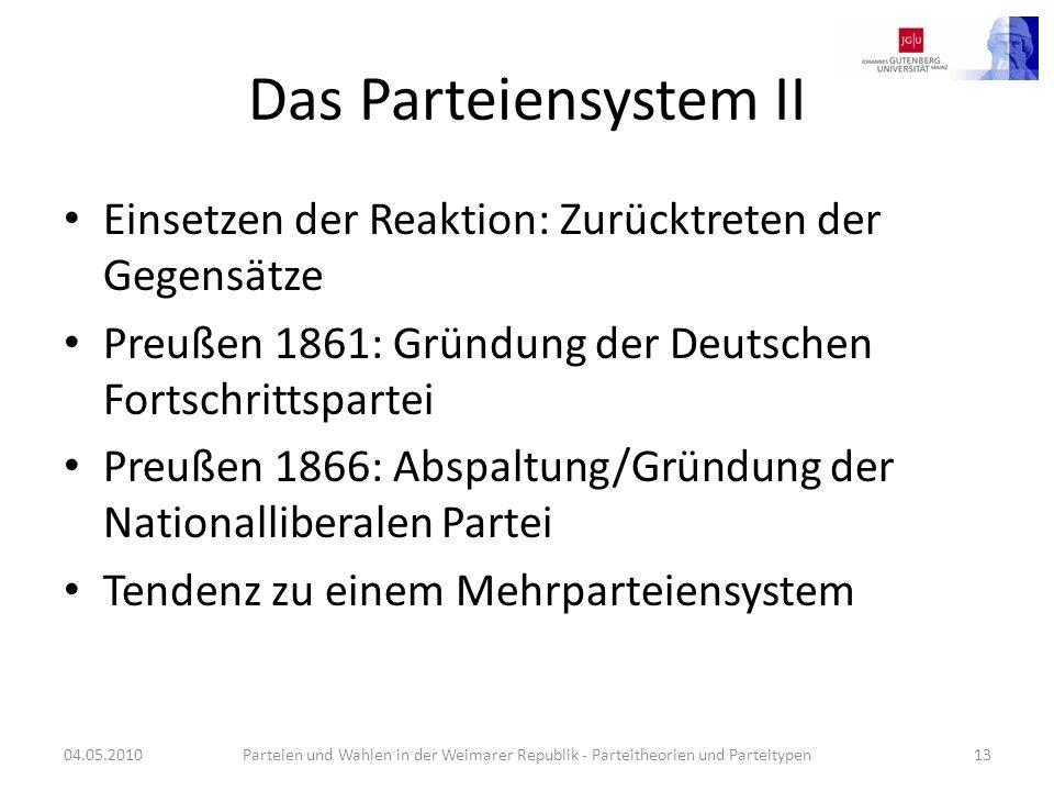 Das Parteiensystem II Einsetzen der Reaktion: Zurücktreten der Gegensätze Preußen 1861: Gründung der Deutschen Fortschrittspartei Preußen 1866: Abspal