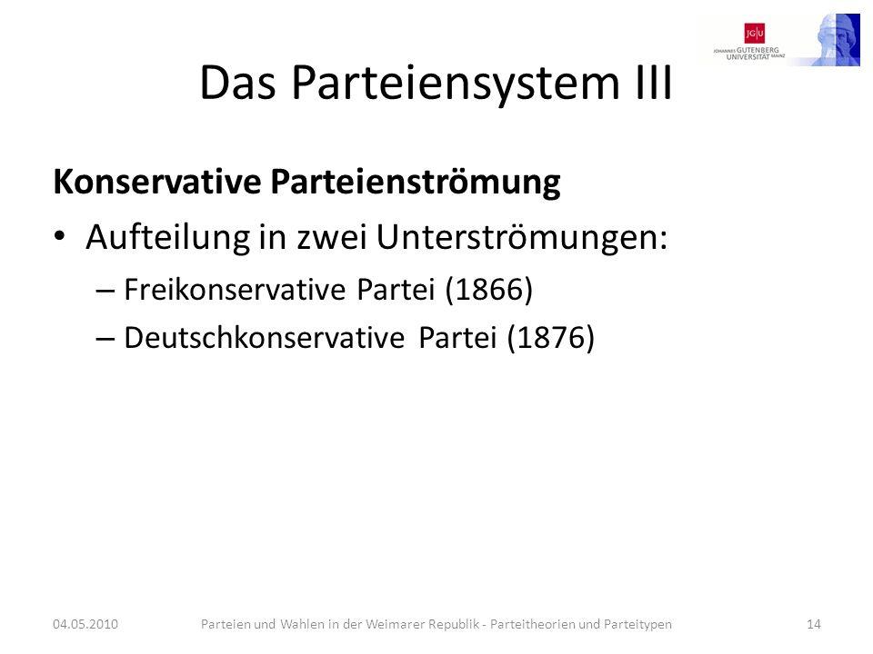 Das Parteiensystem III Konservative Parteienströmung Aufteilung in zwei Unterströmungen: – Freikonservative Partei (1866) – Deutschkonservative Partei