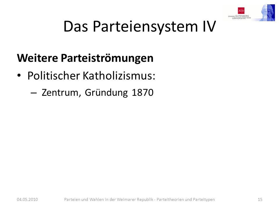 Das Parteiensystem IV Weitere Parteiströmungen Politischer Katholizismus: – Zentrum, Gründung 1870 04.05.2010Parteien und Wahlen in der Weimarer Repub