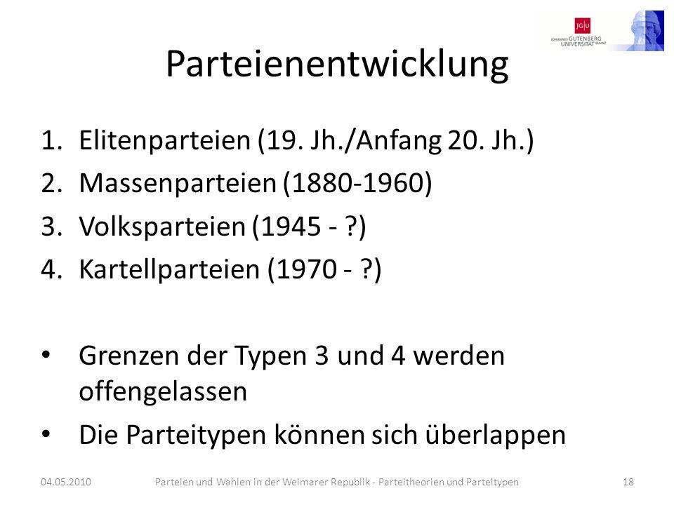 Parteienentwicklung 1.Elitenparteien (19. Jh./Anfang 20. Jh.) 2.Massenparteien (1880-1960) 3.Volksparteien (1945 - ?) 4.Kartellparteien (1970 - ?) Gre