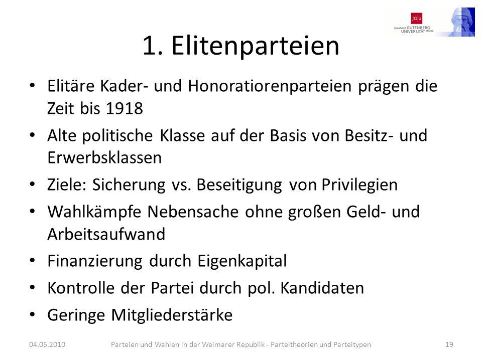 1. Elitenparteien Elitäre Kader- und Honoratiorenparteien prägen die Zeit bis 1918 Alte politische Klasse auf der Basis von Besitz- und Erwerbsklassen