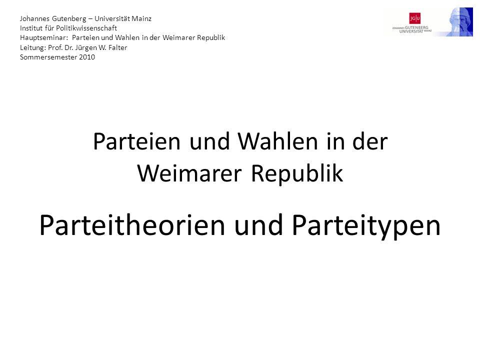 Viele Typologisierungen möglich Keine Einigkeit in der Forschung Im Folgenden Einteilung in fünf Dimensionen (nach Lucardie) 2304.05.2010Parteien und Wahlen in der Weimarer Republik - Parteitheorien und Parteitypen