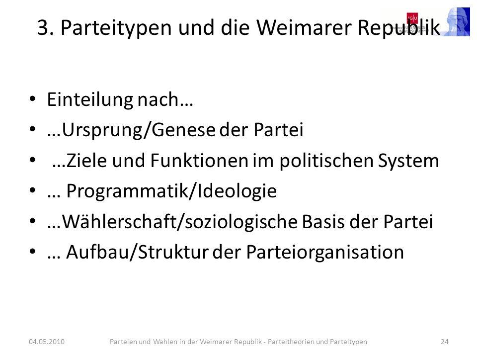 3. Parteitypen und die Weimarer Republik Einteilung nach… …Ursprung/Genese der Partei …Ziele und Funktionen im politischen System … Programmatik/Ideol