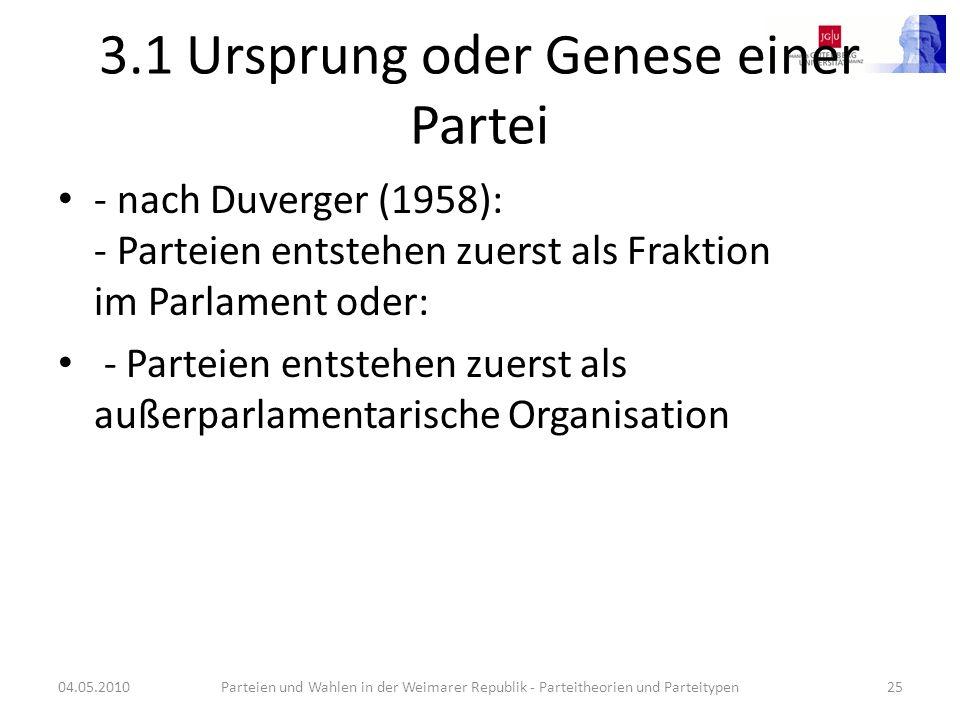 3.1 Ursprung oder Genese einer Partei - nach Duverger (1958): - Parteien entstehen zuerst als Fraktion im Parlament oder: - Parteien entstehen zuerst