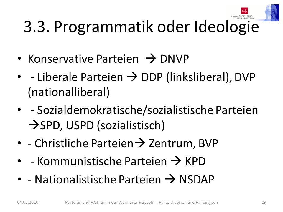 3.3. Programmatik oder Ideologie Konservative Parteien DNVP - Liberale Parteien DDP (linksliberal), DVP (nationalliberal) - Sozialdemokratische/sozial