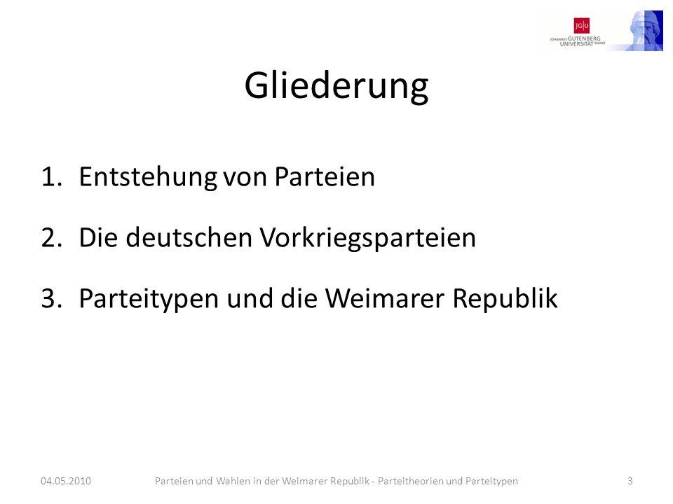 Gliederung 1.Entstehung von Parteien 2.Die deutschen Vorkriegsparteien 3.Parteitypen und die Weimarer Republik 04.05.2010Parteien und Wahlen in der We