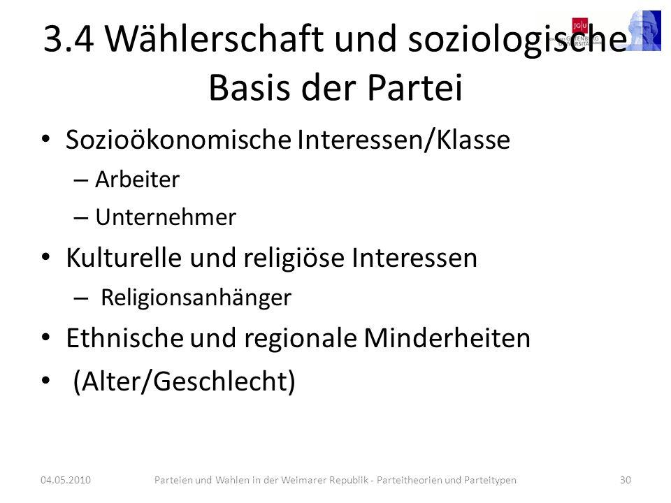 3.4 Wählerschaft und soziologische Basis der Partei Sozioökonomische Interessen/Klasse – Arbeiter – Unternehmer Kulturelle und religiöse Interessen –